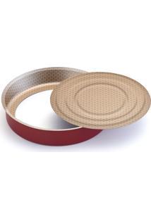 Assadeira Redonda Com Fundo Removível Luxury N.30 – Alumínio Oliveira - Vermelho