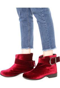 Bota Dafiti Shoes Veludo Maxi Fivela Vinho
