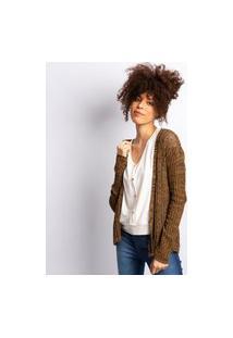 Cardigan Feminino Em Tricot Caramelo Mescla Com Preto