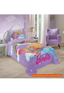Jogo De Cama Infantil Com 3 Peças Barbie Reinos Mágicos Algodão Lilás