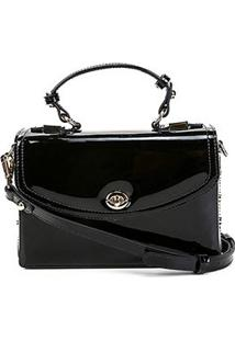 Bolsa Couro Jorge Bischoff Mini Bag Estruturada Verniz Feminina - Feminino-Preto