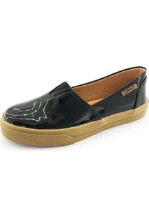 Tênis Slip On Quality Shoes Feminino 002 Verniz Preto Sola Caramelo 37