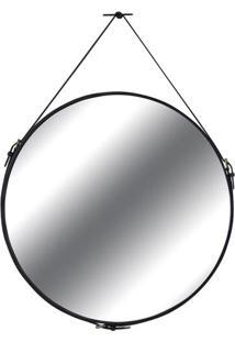 Espelho Silverstone Couro Preto 75 Cm (Larg) - 35740 - Sun House