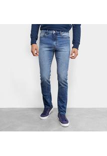 Calça Jeans Calvin Klein Five Pocktes Slim Masculina - Masculino-Azul