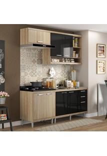 Cozinha Compacta 7 Portas Com Balcão Sem Pia 5810 Preto/Argila - Multimóveis