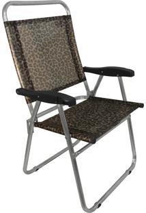 Cadeira De Praia Cancun Plus Zaka Alumínio Estampada Até 100 Kg Onça