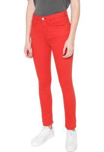 Calça Sarja Calvin Klein Skinny Básica Vermelha