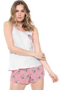 Pijama Malwee Liberta Bulldog Rosa/Branco