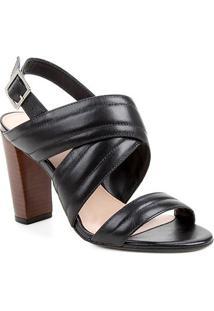 Sandália Couro Shoestock Salto Bloco Alto Soft Feminina - Feminino-Preto
