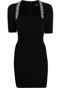 Balmain Vestido De Tricô Com Aplicação De Strass - Preto