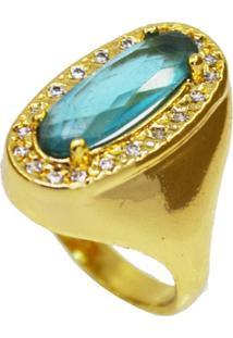 Anel La Madame Co Cristal Turquesa Dourado