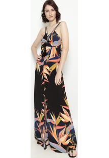 Vestido Longo Com Amarração - Preto & Laranja - Estiestilo H