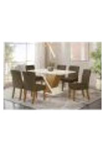 Mesa De Jantar Solus C/ 6 Cadeiras Maris - Nature/Off White/Marrom Claro