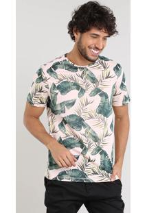 Camiseta Masculina Slim Fit Estampada De Folhagem Manga Curta Gola Careca Rosê