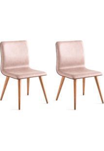 Conjunto Com 2 Cadeiras De Jantar Liana Marrom Claro E Castanho
