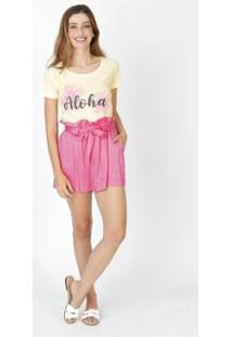 Camiseta Feminina Aloha Amarelo - Feminino