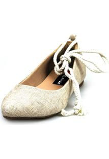 Sapatilha Love Shoes Bico Fino Lace Up Areia