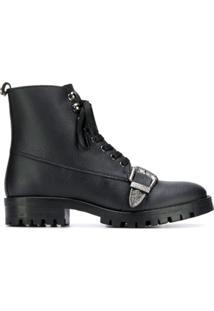Trussardi Jeans Ankle Boot Com Fivela - Preto