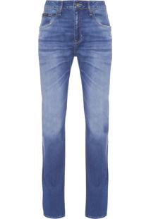 Calça Masculina Jeans Five Pockets Slim Straight - Azul
