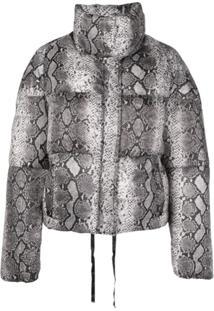 Apparis Snakeskin Print Puffer Jacket - Cinza