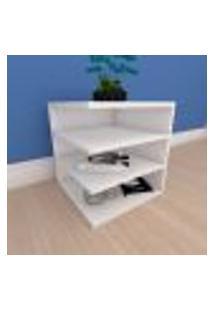 Mesa Lateral Simples Com Prateleiras Em Mdf Branco