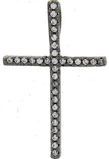 Pingente Narcizza Semijoias Cruz Cravejada Com Zircônia Cristal - Ródio Negro