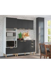 Cozinha Compacta Nevada Xii 6 Pt 4 Gv Grafite E Branca