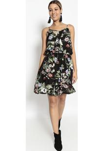 Vestido Floral Com Babado- Preto & Verde- Bhlbhl