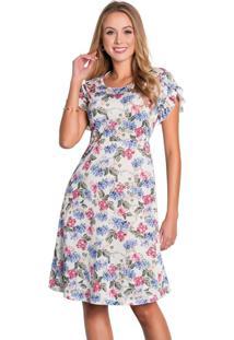 Vestido Moda Evangélica Com Babado Floral