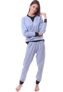 Pijama Simony Lingerie Baby Doll Longo Cotton Malibu Azul