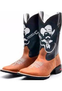 Bota Texana Tião Carreiro Bico Quadrado Ramon Boots Marrom