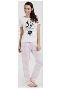 Pijama Feminino Estampa Minnie Xadrez Disney