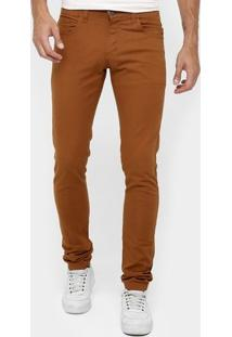 Calça Skinny Preston Color Masculina - Masculino-Caramelo