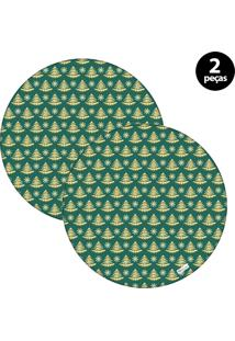 Capa Para Sousplat Mdecore Natal Pinheiros Verde 2Pçs