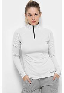 Blusa Adidas Tracero Ls Feminina - Feminino-Branco