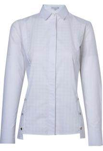 Camisa Dudlaina Manga Longa Tricoline Maquinetado Recorte Feminina (Branco, 42)