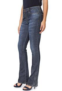Calça Jeans Carmim Bootcut Rosa Azul