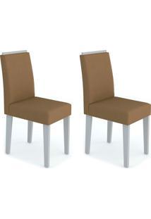 Conjunto Com 2 Cadeiras Amanda Off White E Marrom Médio