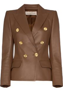 Alexandre Vauthier Double-Breasted Leather Blazer - Marrom