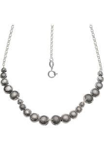 Gargantilha Prata Mil Envelhecida Com 20 Bolas Estampadas Reticuladas Prata - Prata - Feminino - Dafiti