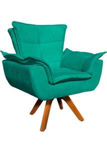 Poltrona Decorativa Giratória Gran Opala Base Madeira Suede Verde Tiffany - D'Rossi - Tricae