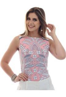 Regata Ficalinda Decote Canoa Feminina - Feminino-Rosa+Branco