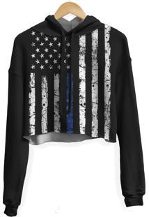Blusa Cropped Moletom Feminina Over Fame Estados Unidos Md01 - Preto - Feminino - Poliã©Ster - Dafiti