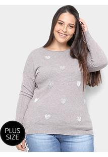 Suéter Tricot City Lady Plus Size Coração Feminino - Feminino