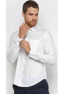 Camisa Calvin Klein Geneva Manga Longa Masculina - Masculino-Branco