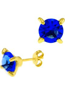 Brinco Horus Import Ponto Luz Azul Zafira Banhado Ouro Amarelo 18 K - 1031103