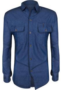 Camisa Outletdri Slim Fit Jeans Importada Zíper Azul