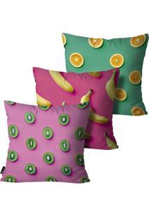 Kit Com 3 Capas Almofadas Mdecore Frutas 55X55Cm Rosa