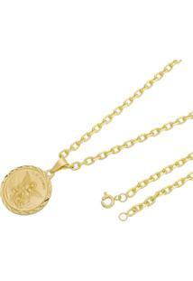 Pingente São Miguel Arcanjo Com Corrente Modelo Francesa Tudo Joias Folheado A Ouro 18K Dourada