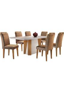 Conjunto De Mesa Para Sala De Jantar Tampo De Vidro Helena Com 6 Cadeiras Athenas-Rufato - Animalle Chocolate / Off White / Imbuia